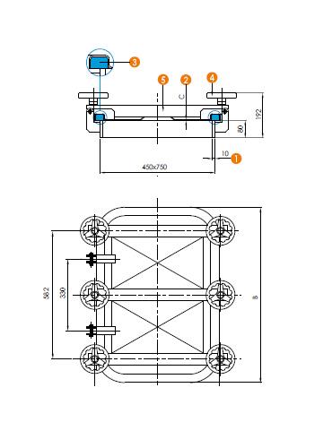 Люк нержавеющий прямоугольный схема L15C