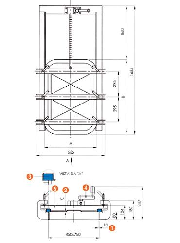 Люк нержавеющий прямоугольный схема L15E