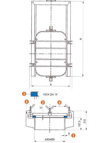 Люк нержавеющий прямоугольный схема L15G
