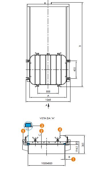Люк нержавеющий прямоугольный схема L15L