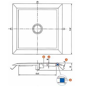 Люк нержавеющий квадратный схема L33