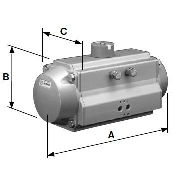 Пневмопривод горизонтальный одинарного действия воздух/пружина AISI 304 С-Р схема