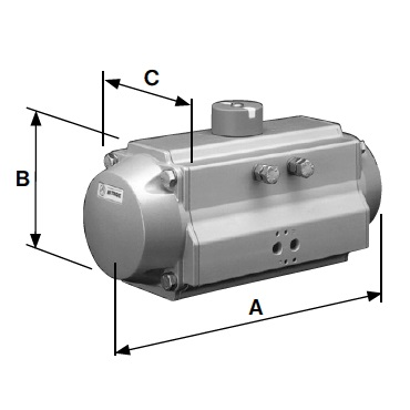 Пневмопривод горизонтальный двойного действия воздух/воздух AISI 304 D-A схема