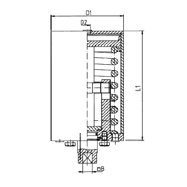 Пневмопривод вертикальный одинарного действия воздух/пружина AISI 304 С-Р схема