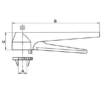 Рычаг ручного управления тип клещевой многопозиционный (нержавейка+пластик) схема
