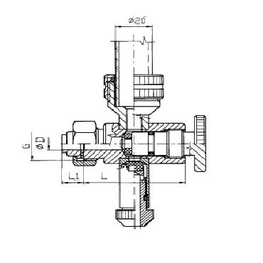 Нижний кран уровнемера 5309B конус/гайка схема