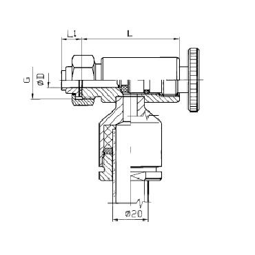Верхний кран уровнемера 5313B конус/гайка схема