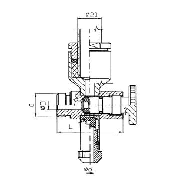Нижний кран уровнемера 5314A схема