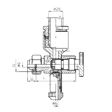 Нижний кран уровнемера 5314B конус/гайка схема