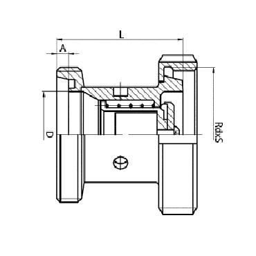 5084B Клапан обратный резьба/конус+гайка схема