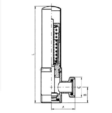 5362 Клапан ограничительный угловой резьба/резьба 90 град. схема