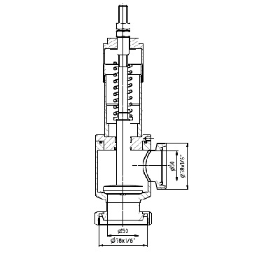 5372 Клапан ограничительный угловой конус/гайка 90 град. схема