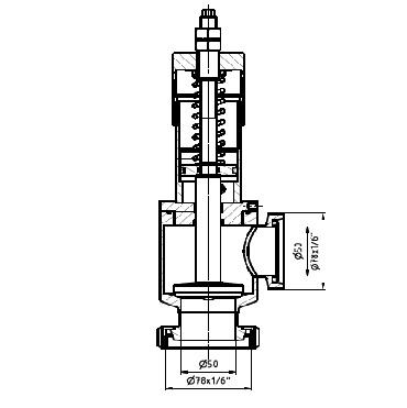 5377 Клапан ограничительный угловой конус+гайка/резьба 90 град. схема