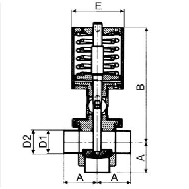 4731P Клапан седельный двойной сварка/сварка/сварка пневматический тип Т схема