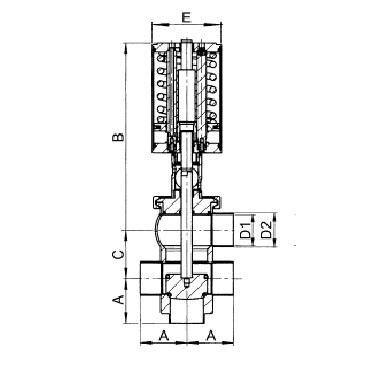 4733P Клапан седельный двойной пневматический  тип LT схема
