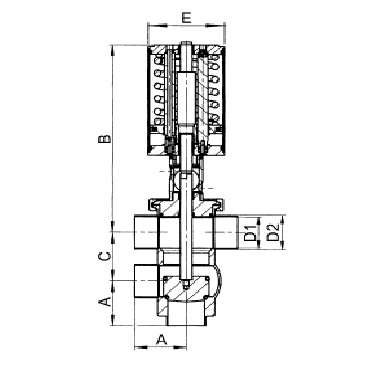 4734P Клапан седельный угловой пневматический  тип LT схема