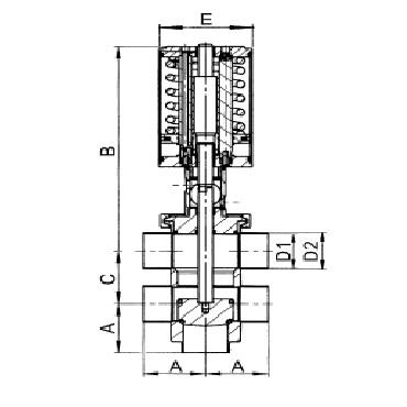 4735P Клапан седельный передвижной пневматический  тип ТT схема