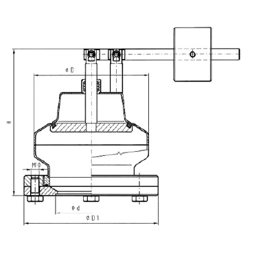 5340 PN Кран вакуумный с грузом фланцевое соединение схема