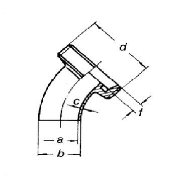 3013 Отвод (угольник) 45 схема