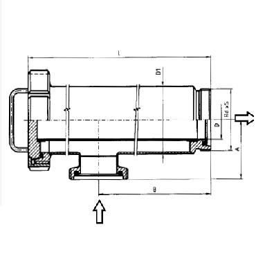 5351 Трубный фильтр прямоугловой резьба/резьба схема